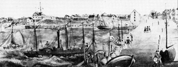 The Rose at Pownal Wharf ca. 1849 from a painting by George Hubbard in the collection of the PEI Museum and Heritage Foundation