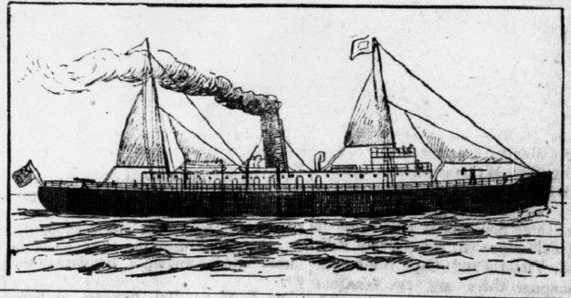 Pre-launch drawing of the Minto. Note the guns on the bow and stern of the vessel
